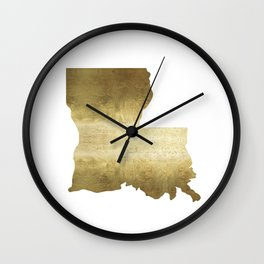 louisiana gold foil state map Wall Clock