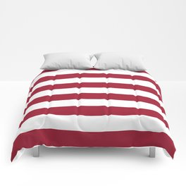 Crimson Red Horizontal Stripes Pattern Comforters