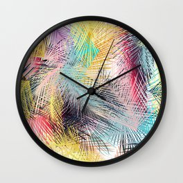 Jungle pampa colorful forest. Tropical fresh forest pattern with palms Wall Clock