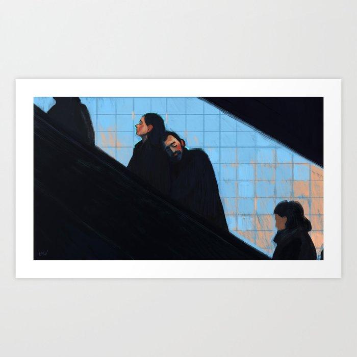 A Couple on the Escalator Kunstdrucke