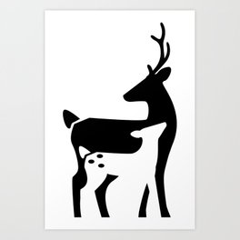Stag and Fawn Art Print