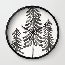 Pine Trees – Black Ink Wall Clock