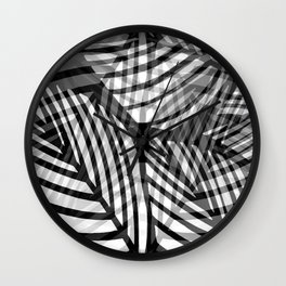 Layered Artistic Black White And Grey Leaf Vein Abstract Wall Clock