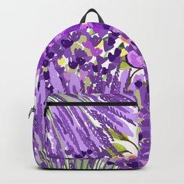 Lilac violet lavender lime green floral illustration Backpack