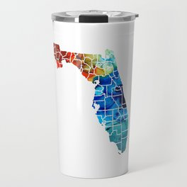 Florida - Map by Counties Sharon Cummings Art Travel Mug