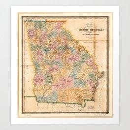 Bonner's pocket map of the state of Georgia (1848) Art Print