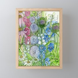 Rainbow Garden Watercolor Ink Painting Framed Mini Art Print