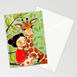 Giraffe Hug sweet painting by Tascha Parkinson Stationery Cards