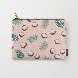 Little coconut garden summer surf palm leaves pink Carry-All Pouch
