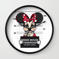 minnie mouse Wall Clocks featuring Bad Guys / Minnie Mouse by mebz art