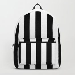 Midnight Black and White Vertical Beach Hut Stripes Backpack