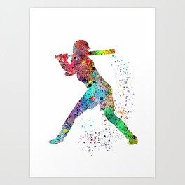 Baseball Softball Player Sports Art Print Watercolor Print Girl's softball Art Print