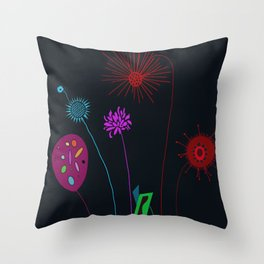 Silly Space-Age Flowers Black Background Throw Pillow