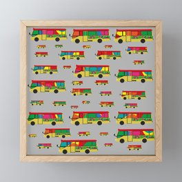 Grey Mini Bus Pattern Framed Mini Art Print
