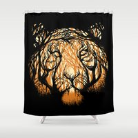 hunter Shower Curtains featuring Hidden Hunter by carbine