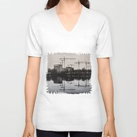 postcard V-neck T-shirts featuring Industrial (retro postcard) by DS' photoart