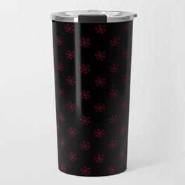Burgundy Red on Black Snowflakes Travel Mug