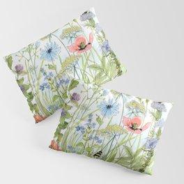 Floral Watercolor Botanical Cottage Garden Flowers Bees Nature Art Pillow Sham