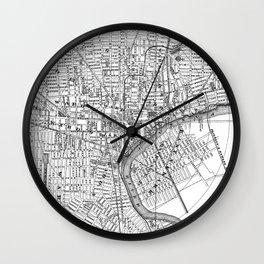 Vintage Map of Newark NJ (1872) BW Wall Clock