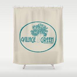Village Green Bookstore Green on Tan Shower Curtain