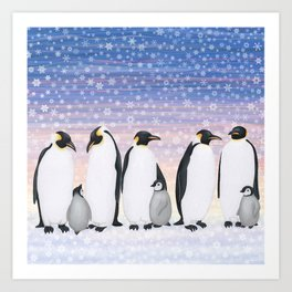 emperor penguin colony Art Print