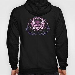 Lotus flower with leaves. Pink Yoga. Hoody