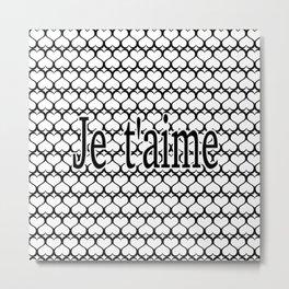 Je t'aime Pattern Metal Print