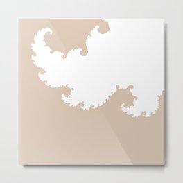 Beige and White Fractal Metal Print