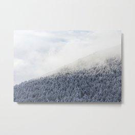 Pine trees on the snowy mountain Metal Print