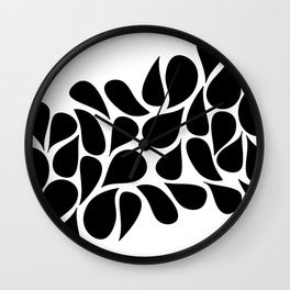 Small Abstract Black & White Foliage Pattern - Mix and Match with Simplicity of Life Wall Clock
