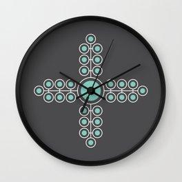 Minimalist Flowers Cross Pattern (Lucite Green, Charcoal Black) Wall Clock