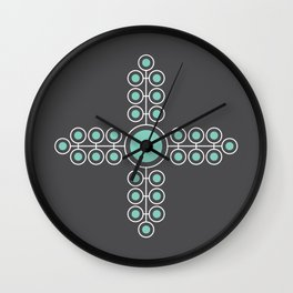 Minimalist Flowers Cross Pattern (Lucite Green, Charcoal Black) Wall Clock