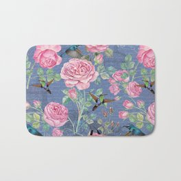 Vintage Watercolor hummingbird and English Roses on blue Background Bath Mat