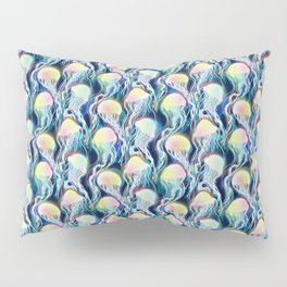 seamless pattern with iridescent jellyfishes Pillow Sham