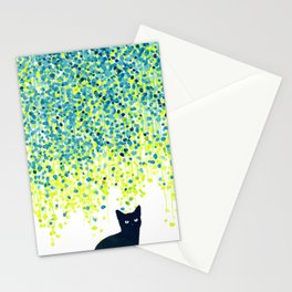 Cat in the garden under willow tree Stationery Cards