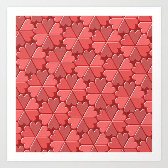 Heart Tiles Art Print