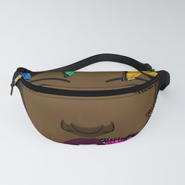Portrait of a Young African American Woman with Butterflies Fanny Pack