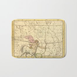 Vintage Sagittarius Constellation Map (1822) Bath Mat