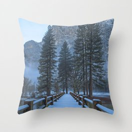 Swinging Bridge (also known as Sentinel Bridge) is covered in a fresh dusting of Spring snow Throw Pillow