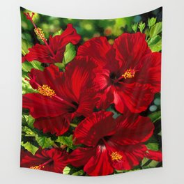 Red Hibiscus 18 Wall Tapestry