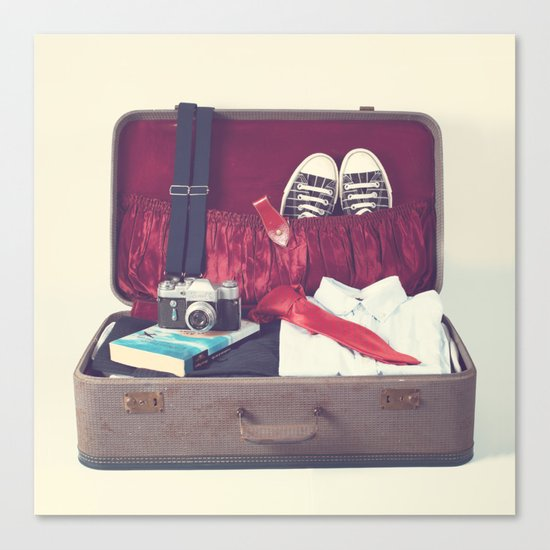 Vintage Journey Suitcase (His) (Retro and Vintage Still Life Photography) Canvas Print