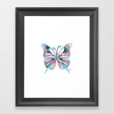 Pink and Blue Watercolor Butterfly Framed Art Print