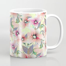 Elegant pink coral modern floral botanical illustration Coffee Mug