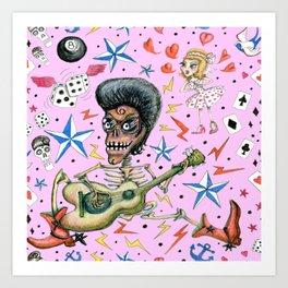 rockabilly bone daddy crush, pink blush orchid lilac rose Art Print