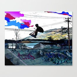 Let's Scoot! - Stunt Scooter at Skate Park Canvas Print