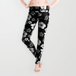 Black And White Floral And Turtle Hawaiian Pattern Leggings