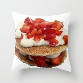 pancakes_strawberries_and_whip_cream Throw Pillow