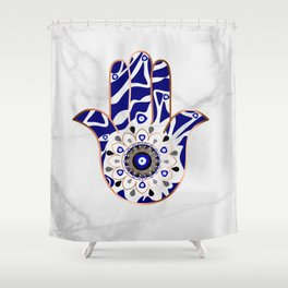 Talk to the Evil Eye Hamsa Hand Shower Curtain