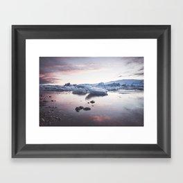Sunset over Glacier Lagoon - Landscape and Nature Photography Framed Art Print