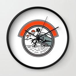 Sea Air Mountain Rescue Honey Badger Mascot Wall Clock